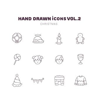 Icônes de contour dessinés à la main de noël