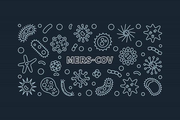 Icônes de contour simple du concept mers-cov