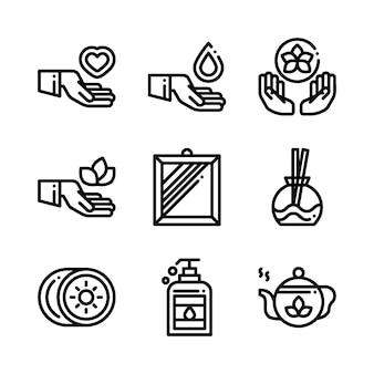Icônes de cosmétiques spa massage thérapie. illustration.