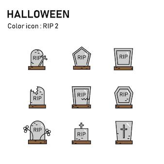 Icônes de couleur de ligne halloween