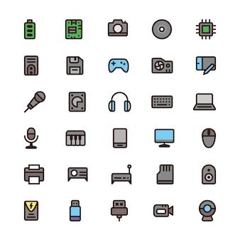 Icônes de couleur d'ordinateur