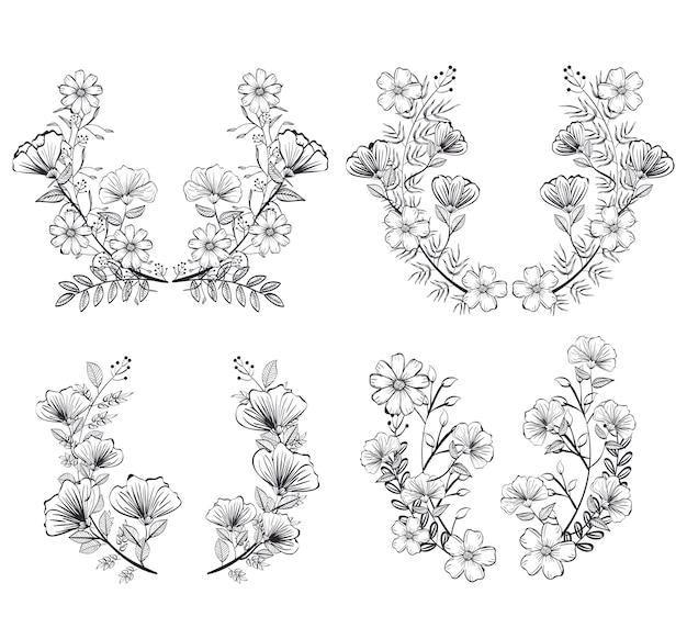 Icônes de couronnes set rustique vector illustration design