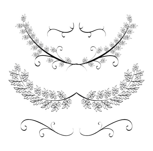 Icônes de couronnes set rustique