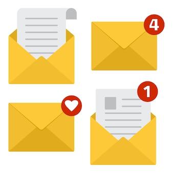 Icônes de courrier. lire le message. nouveau message électronique entrant. illustration