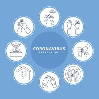 Icônes covid19 prévention dans des cadres circulaires