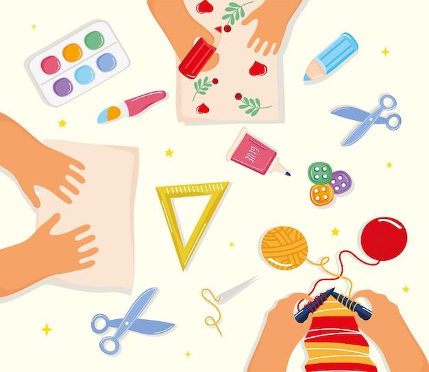 Icônes créatives d'ateliers
