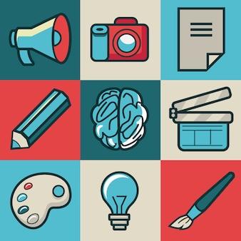 Icônes créatives de vecteur - collection de style rétro