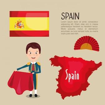 Icônes de la culture espagnole isolé dessin icône