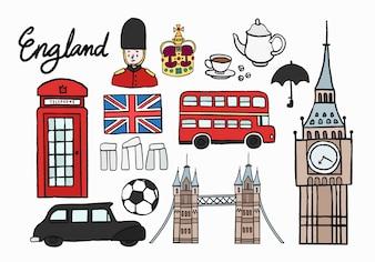 Icônes culturelles britanniques définies illustration