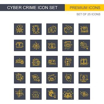 Icônes de cybercriminalité définies vector
