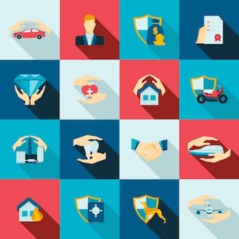 Icônes d'assurance à plat