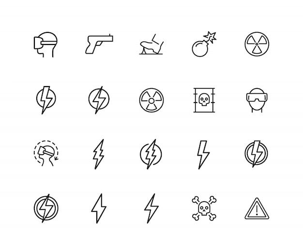 Icônes dangereuses. ensemble de vingt icônes de ligne. bombe, signe de rayonnement, éclair.