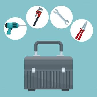 Icônes dans les éléments de cadre circulaire contruction et outils de valise