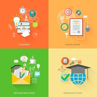 Icônes de l'éducation en ligne
