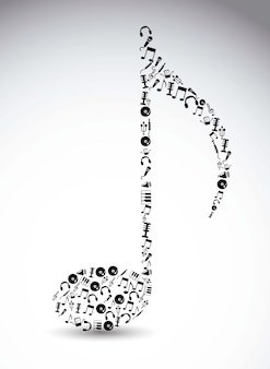 Icônes de la musique sur l'illustration vectorielle fond blanc