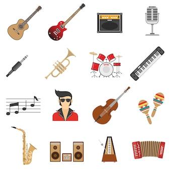 Icônes de musique plat