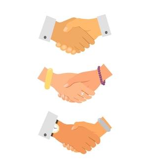 Icônes de poignée de main d'affaires
