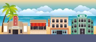 Icônes de scène bâtiments de paysage urbain vector illustration design