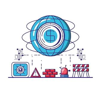Icônes de sécurité de technologie financière