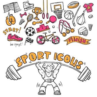 Icônes de sport doodle croquis