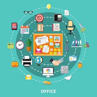 Icônes décoratives de bureau définies dans l'ordre du cercle