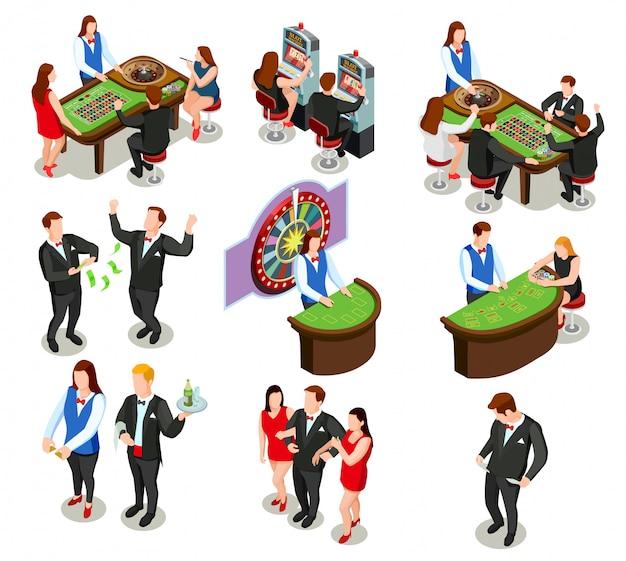 Icônes décoratives isométriques casino