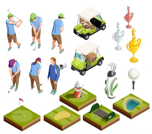 Icônes décoratives isométriques colorées de golf