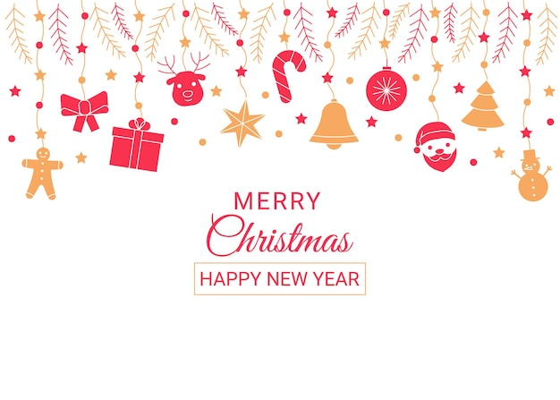 Les icônes décoratives de ligne de bordure rouge et or de noël et du nouvel an définissent le cadre de vacances