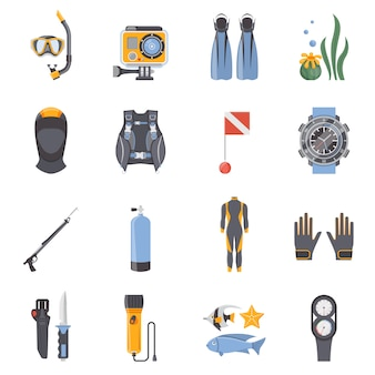 Icônes décoratives plates de plongée et de plongée en apnée