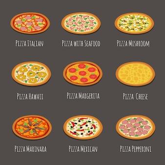 Icônes de délicieuses pizzas