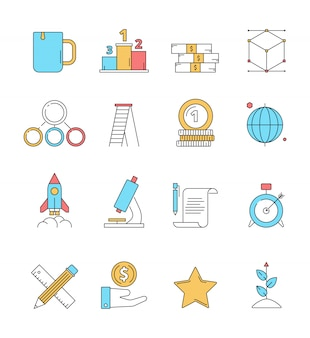 Icônes de démarrage colorées. business plan parfait innovation idée rêves entrepreneuriat investisseurs icône linéaire isolé