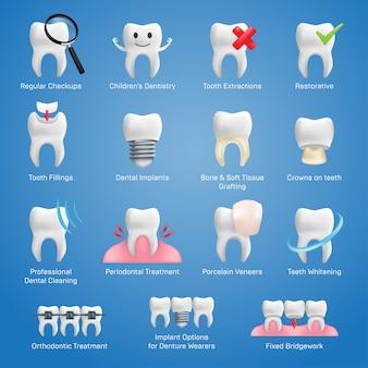 Icônes dentaires avec différents éléments pour divers services de site web