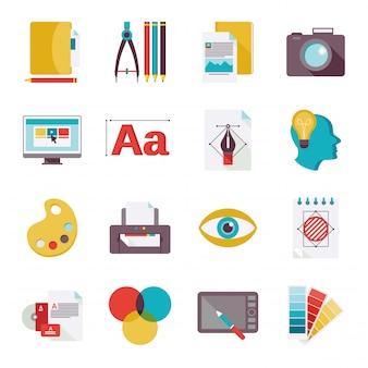 Icônes de design graphique à plat