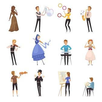 Icônes de dessin animé artistes de rue isolés