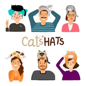 Icônes de dessin animé de chapeaux de chats