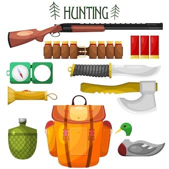 Icônes de dessin animé de chasse.