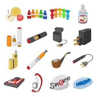 Icônes de dessin animé de cigarettes électroniques set vector isolé
