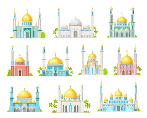 Icônes de dessin animé de construction de mosquée musulmane
