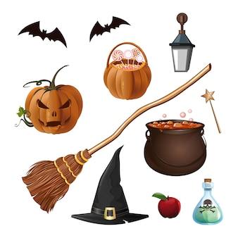 Icônes de dessin animé halloween isolés sur fond blanc