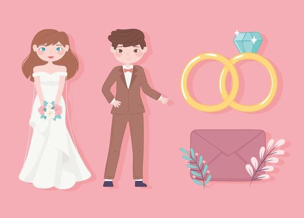 Icônes de dessin animé de mariage