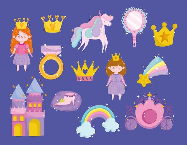 Icônes de dessin animé princesse licorne couronne arc-en-ciel étoile miroir anneau château