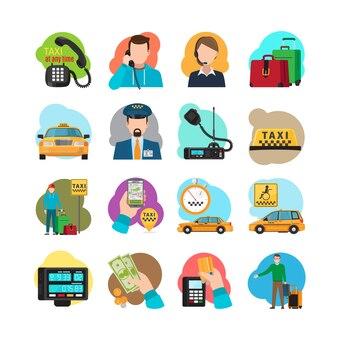 Icônes de dessin animé de taxi