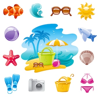 Icônes de dessin animé de voyage de mer. vacances d'été définies avec paysage, poissons tropicaux, lunettes de soleil, vague, étoile de mer, avion, coquillage, sac, chapeau de paille.