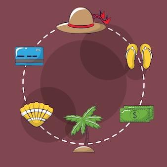Icônes de dessin animé de voyages et vacances