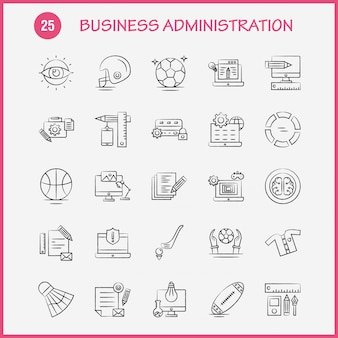 Icônes dessinées à la main de l'administration des affaires