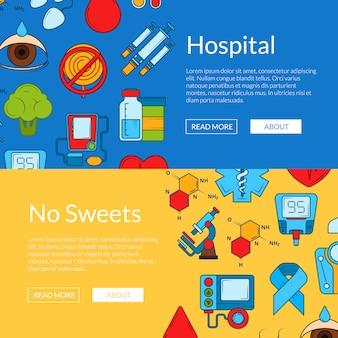Icônes de diabète de couleur web bannière s