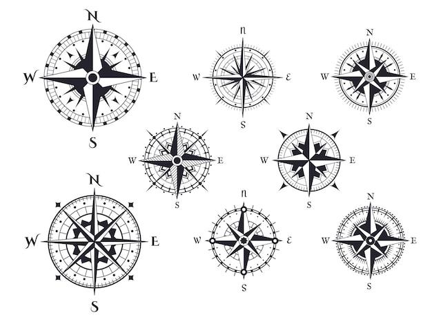 Icônes de direction nautique rose des vents avec points cardinaux, boussoles de carte vintage