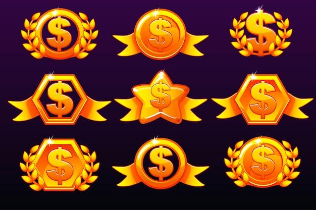 Icônes en dollars de modèles d'or pour les récompenses, créant des icônes pour les jeux mobiles.