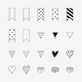 Icônes doodle dessinés à la main