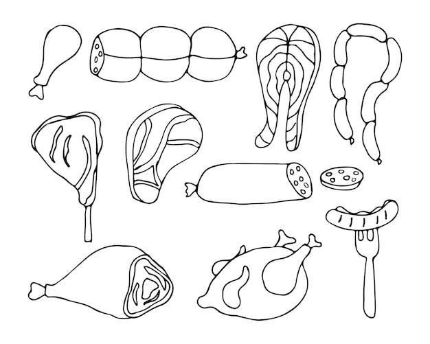 Icônes de doodle de viande définies dans le vecteur. collection d'icônes de viande dessinée à la main.